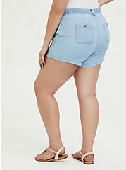 Plus Size Drawstring Short Short - Chambray Blue, CHAMBRAY, alternate