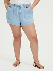 Plus Size Drawstring Short Short - Chambray Blue, CHAMBRAY, hi-res