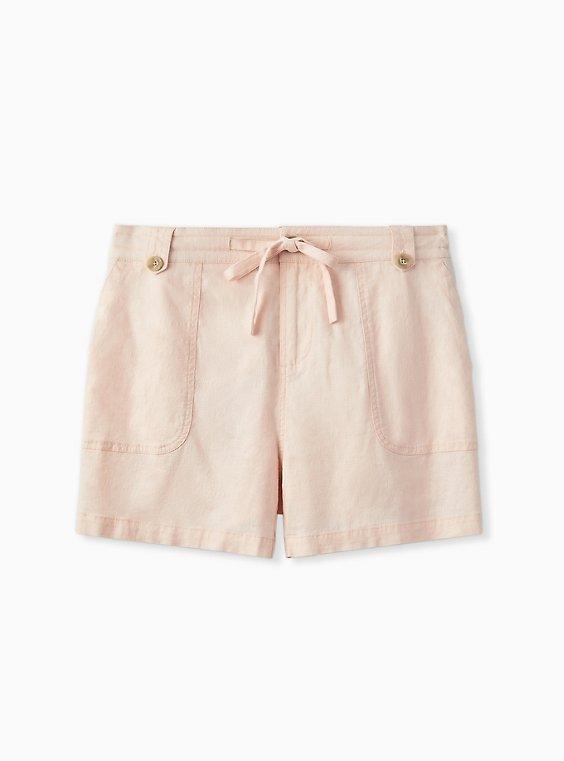 Plus Size Drawstring Short Short - Linen Light Pink, PEACH BLUSH, ls