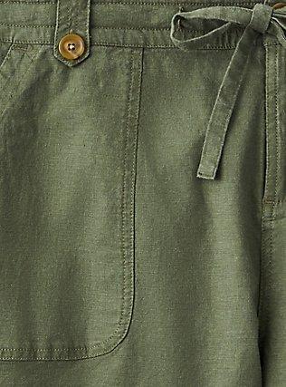Drawstring Short Short - Linen Olive Green, DEEP DEPTHS, alternate