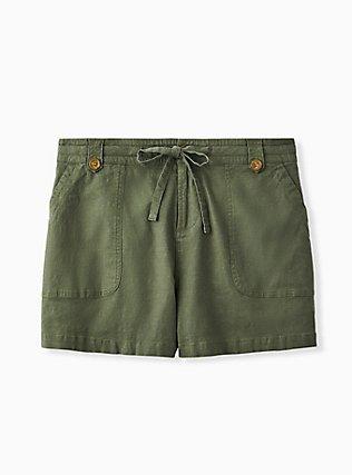 Drawstring Short Short - Linen Olive Green, DEEP DEPTHS, flat