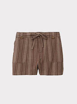 Drawstring Short Short - Linen Stripe Brown, STRIPES, flat