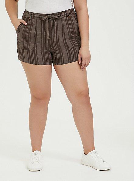 Drawstring Short Short - Linen Stripe Brown, STRIPES, hi-res