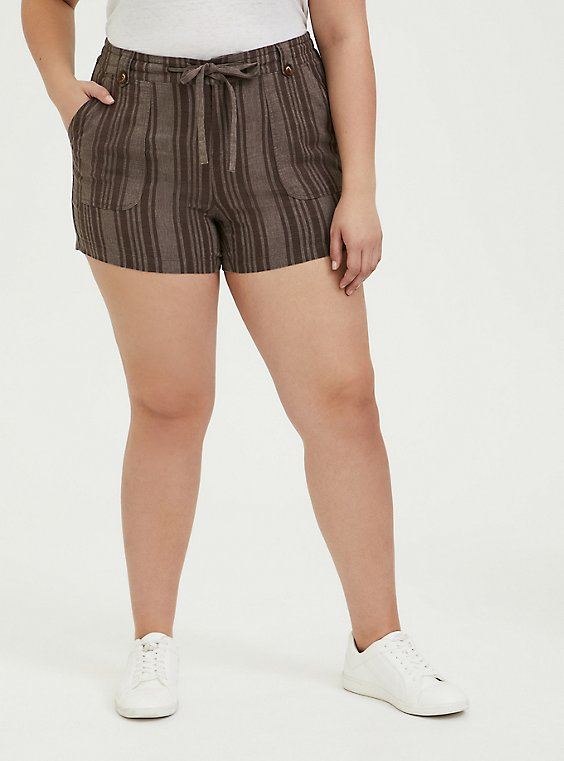 Plus Size Drawstring Short Short - Linen Stripe Brown, , hi-res