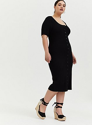 Black Rib Snap Button Front Bodycon Midi Dress, DEEP BLACK, alternate