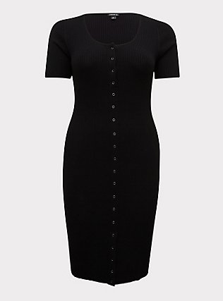Black Rib Snap Button Front Bodycon Midi Dress, DEEP BLACK, flat
