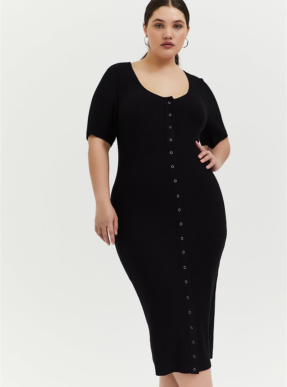 Black Rib Snap Button Front Bodycon Midi Dress, DEEP BLACK, hi-res