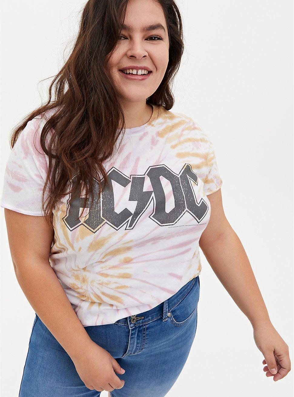 AC/DC Blush Pink & Mustard Yellow Tie-Dye Crew Tee, , hi-res
