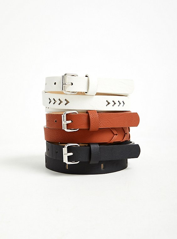 Cognac Faux Leather Whipstitch Belt Pack - Pack of 3, , hi-res