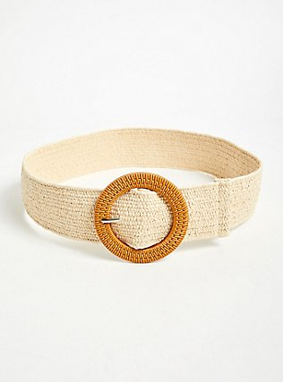 Tan Woven Stretch Straw Belt, IVORY, alternate