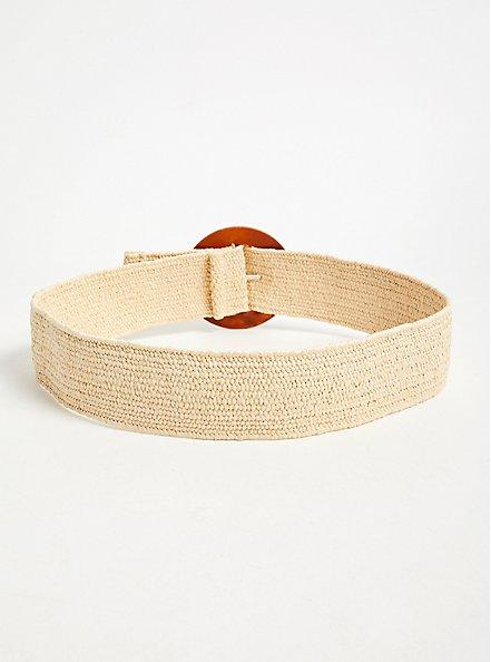 Tan Woven Stretch Straw Belt, IVORY, alternate