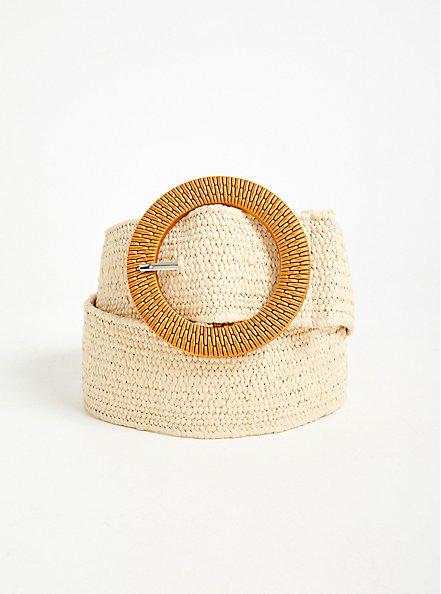 Tan Woven Stretch Straw Belt, IVORY, hi-res