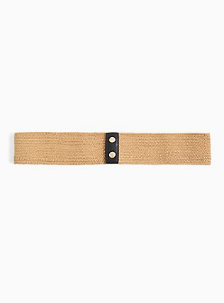 Black Faux Leather & Tan Straw Stretch Belt, IVORY, alternate