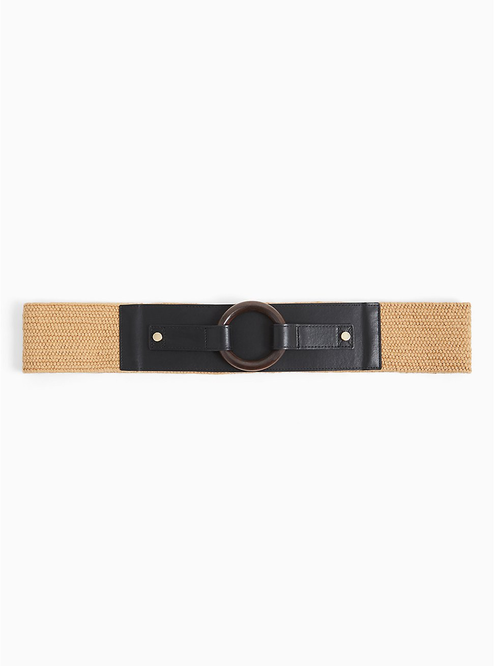 Black Faux Leather & Tan Straw Stretch Belt, IVORY, hi-res