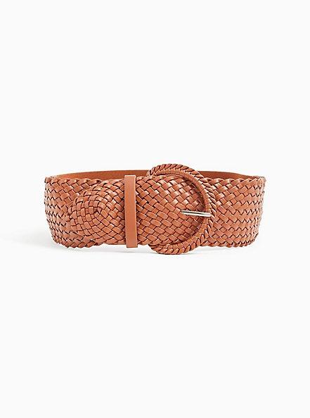 Cognac Faux Leather Woven Stretch Belt , BROWN, alternate