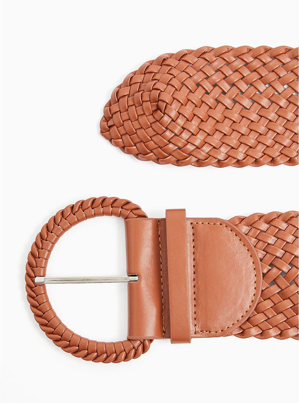Cognac Faux Leather Woven Stretch Belt , BROWN, hi-res