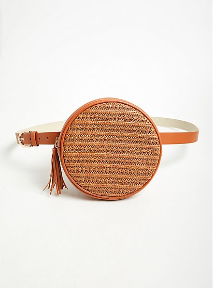 Cognac Faux Leather & Straw Round Belt Bag, , alternate