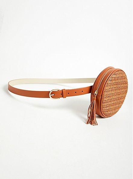 Cognac Faux Leather & Straw Round Belt Bag, , hi-res