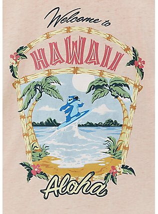 Disney Lilo & Stitch Hawaii Pale Pink Jersey Tie Front Top, ROSE DUST, alternate