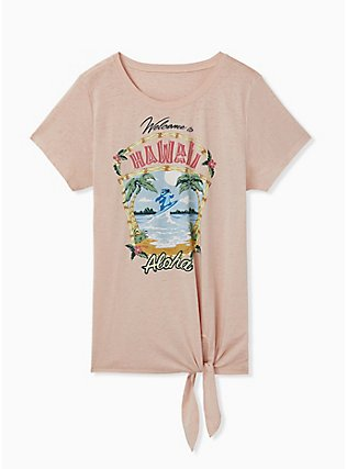 Disney Lilo & Stitch Hawaii Pale Pink Jersey Tie Front Top, ROSE DUST, hi-res