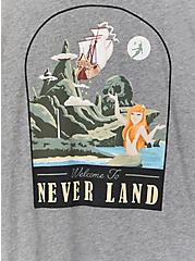 Plus Size Disney Peter Pan Neverland Skull Island Heather Grey Ringer Top, LIGHT GREY HEATHER, alternate