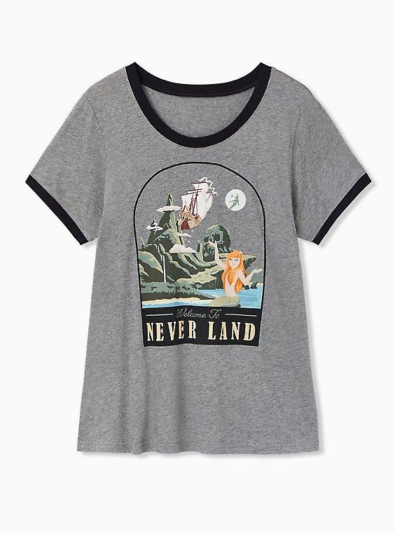 Disney Peter Pan Neverland Skull Island Heather Grey Ringer Top, , hi-res
