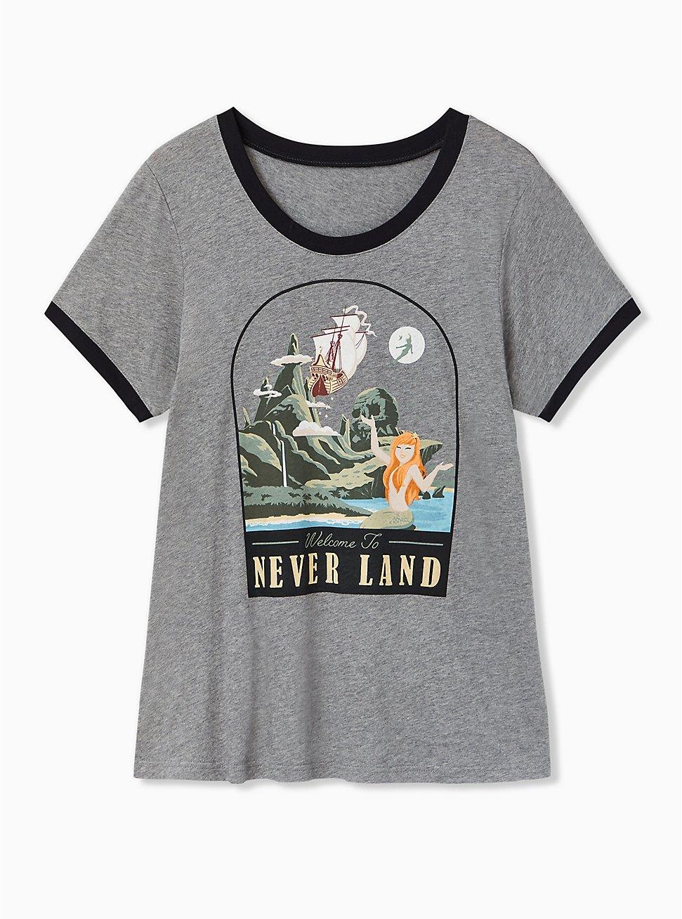 Plus Size Disney Peter Pan Neverland Skull Island Heather Grey Ringer Top, LIGHT GREY HEATHER, hi-res