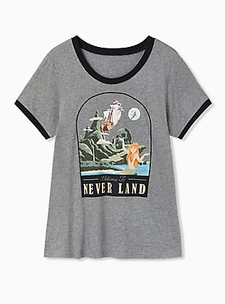 Disney Peter Pan Neverland Skull Island Heather Grey Ringer Top, LIGHT GREY HEATHER, hi-res