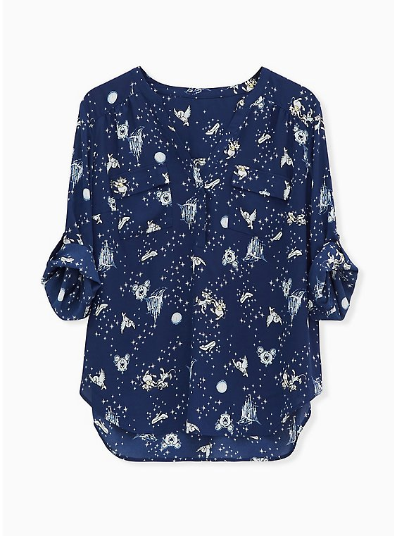 Disney Cinderella Navy Georgette Madison Blouse, , hi-res