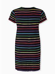 Disney Mickey & Friends Love For All Rainbow Stripe T-Shirt Dress, MULTI, alternate