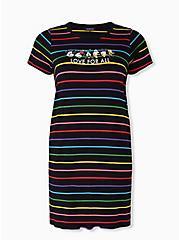 Disney Mickey & Friends Love For All Rainbow Stripe T-Shirt Dress, MULTI, hi-res