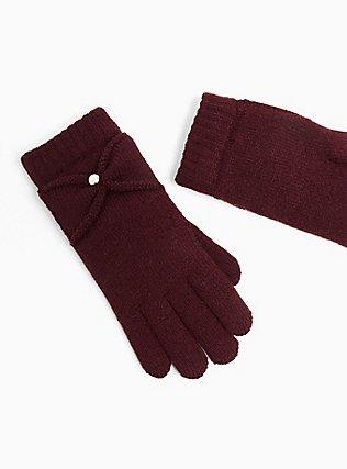 Plus Size Burgundy Purple Bow Lined Gloves, , alternate