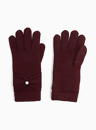 Plus Size Burgundy Purple Bow Lined Gloves, , hi-res