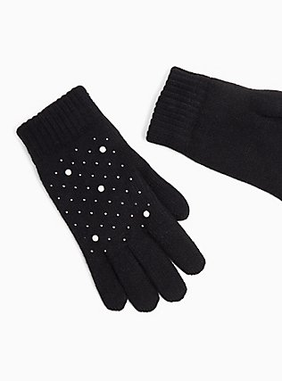 Plus Size Black Pearl & Rhinestone Lined Gloves, , alternate
