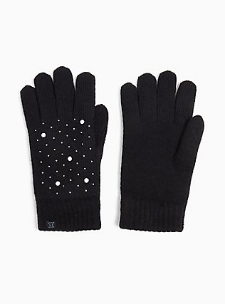 Plus Size Black Pearl & Rhinestone Lined Gloves, , hi-res