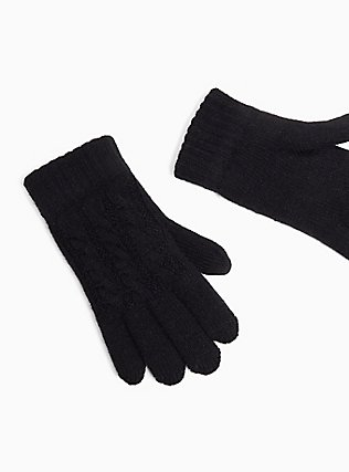 Plus Size Black Cable Knit Lined Gloves, , alternate