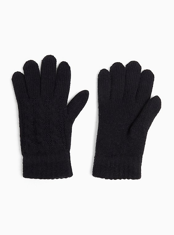 Plus Size Black Cable Knit Lined Gloves, , hi-res