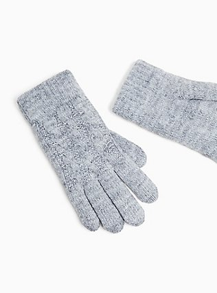 Plus Size Heathered Grey Cable Knit Lined Gloves, , alternate