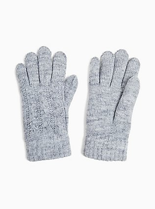 Plus Size Heathered Grey Cable Knit Lined Gloves, , hi-res