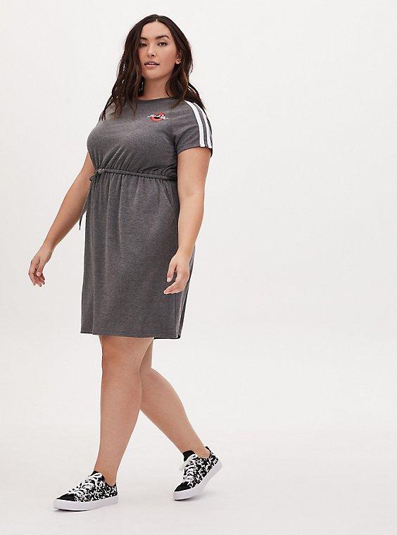 Plus Size That's All Folks Heather Grey Terry T-Shirt Mini Dress, , hi-res