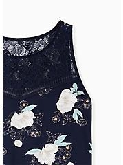 Navy Floral Lace Inset Tank, FLORAL - BLUE, alternate