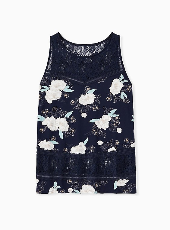 Navy Floral Lace Inset Tank, , hi-res