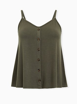 Olive Green Button Swing Cami, DEEP DEPTHS, flat