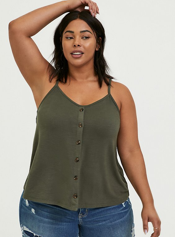 Plus Size Olive Green Button Swing Cami, , hi-res