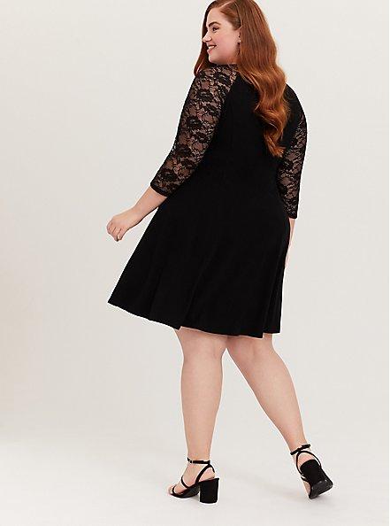 Black Jersey & Lace Trapeze Mini Dress, DEEP BLACK, alternate
