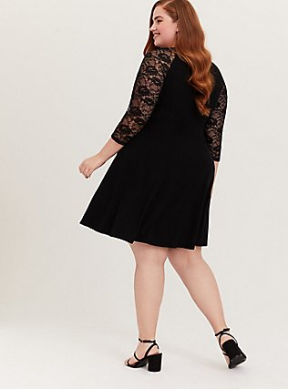 Black Jersey & Lace Mini Trapeze Dress, DEEP BLACK, alternate