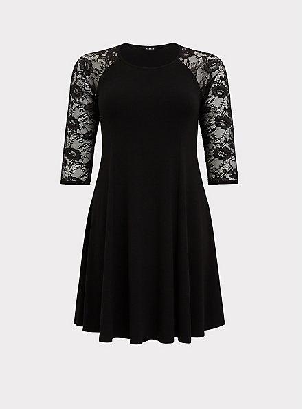 Black Jersey & Lace Trapeze Mini Dress, DEEP BLACK, hi-res