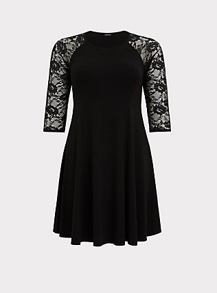 Black Jersey & Lace Mini Trapeze Dress, DEEP BLACK, flat