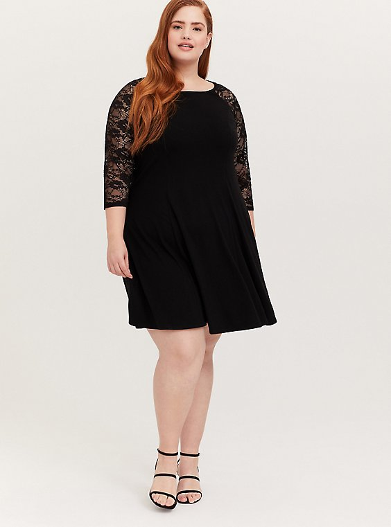 Plus Size Black Jersey & Lace Trapeze Mini Dress, , hi-res