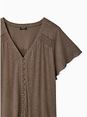 Dark Taupe Slub Button Front Swing Top , FALCON, alternate